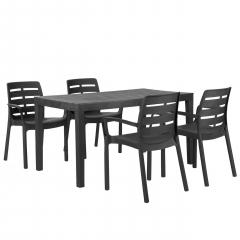 Sestava zahradního nábytku Stůl Sanatra + 4 Židle Mezdon