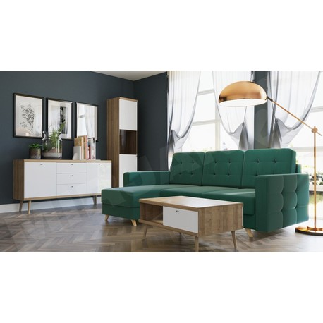 Obývací stěna Prime VI + Rohová sedací souprava Maline
