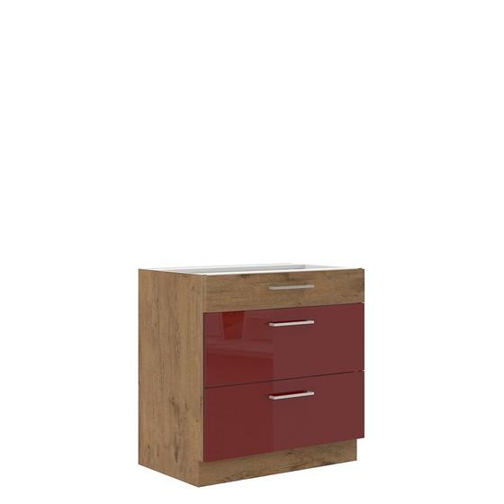 Spodní kuchyňská skříňka se zásuvkami Woodline 80 D 3S BB