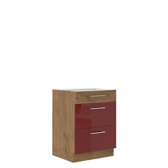 Spodní kuchyňská skříňka se zásuvkami Woodline 60 D 3S BB